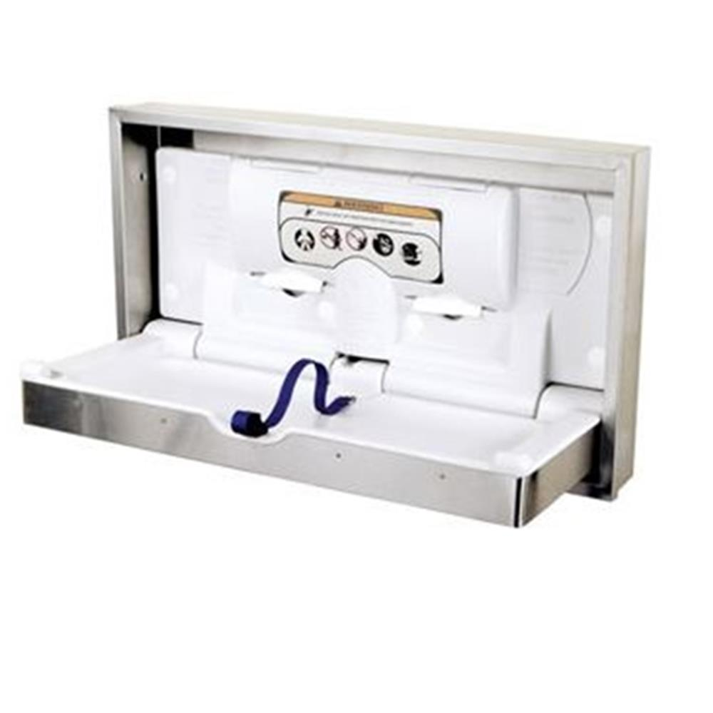 World Dryer - Recessed Stainless DryBaby Horizontal Changing Table | Public Kitchen Supply