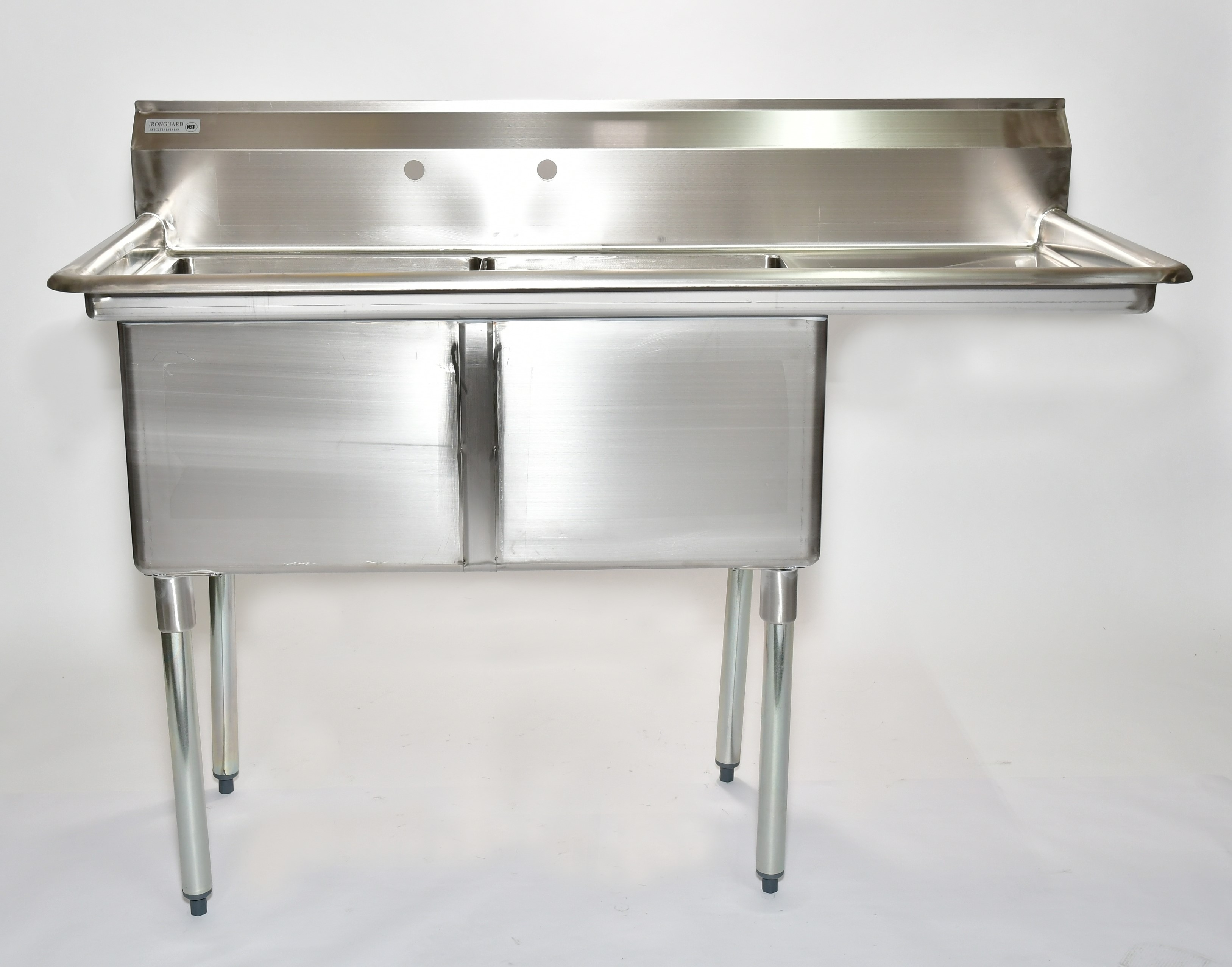 "Iron Guard-Sink 2 Comp  18 X 18 X 14 with 18"" Right Drainboard 304 Top Galv Legs (SKIC2T18181418R) 