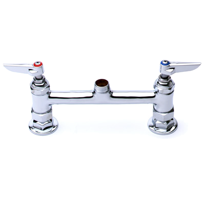 "T&S-FAUCET, 8"" CENTERS, DECK MOUNT, NO NOZZLE, LEVER HNDL (B-0220-LN)