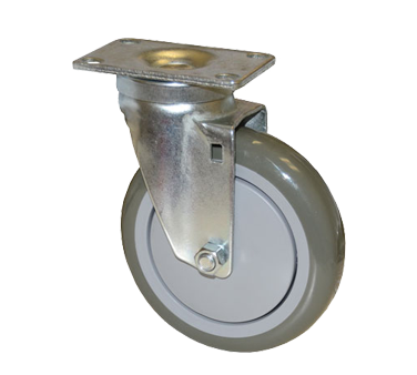 "Component Hardware- Caster, 5"" diameter, swivel, 2-3/8"" x 3-5/8"" plate, no brake, gray wheel, (CMP1-5RPB-B)"