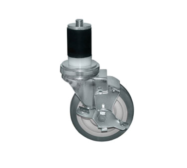 "Component Hardware- Caster, 5"" diameter, expanding stem, swivel, side brake, gray wheel (CMS3-5RBB)"