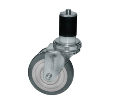 "Component Hardware- Caster,  5"" diameter, expanding stem, swivel, no brake, gray wheel (CMS3-5RPB)"
