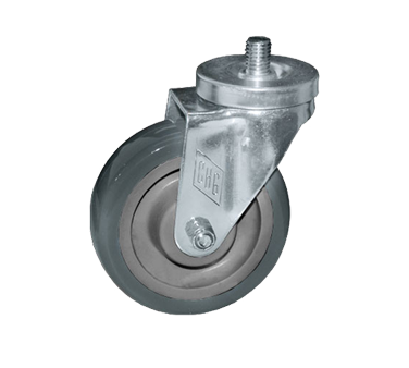 "Component Hardware- Caster, 5"" diameter, threaded stem, swivel, no brake, gray wheel (CMT5-5RPB)"