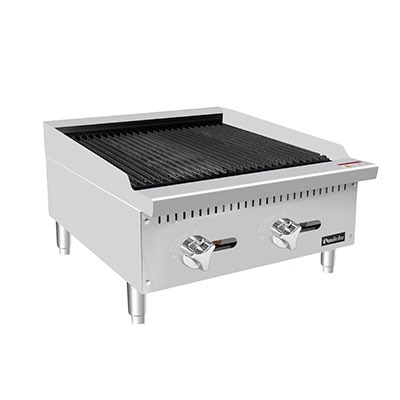 "Padela- Charbroiler, natural gas, countertop, 24.0""W x 28.8""D x 15.2""H (23.9""W 20.2""D cooking area), (2) stainless steel burners, (PCCB-24)"