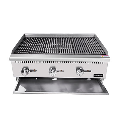"Padela- Heavy Duty Radiant Charbroiler, natural gas, countertop, 36"", (3) stainless steel burners, (PCRB-36)"