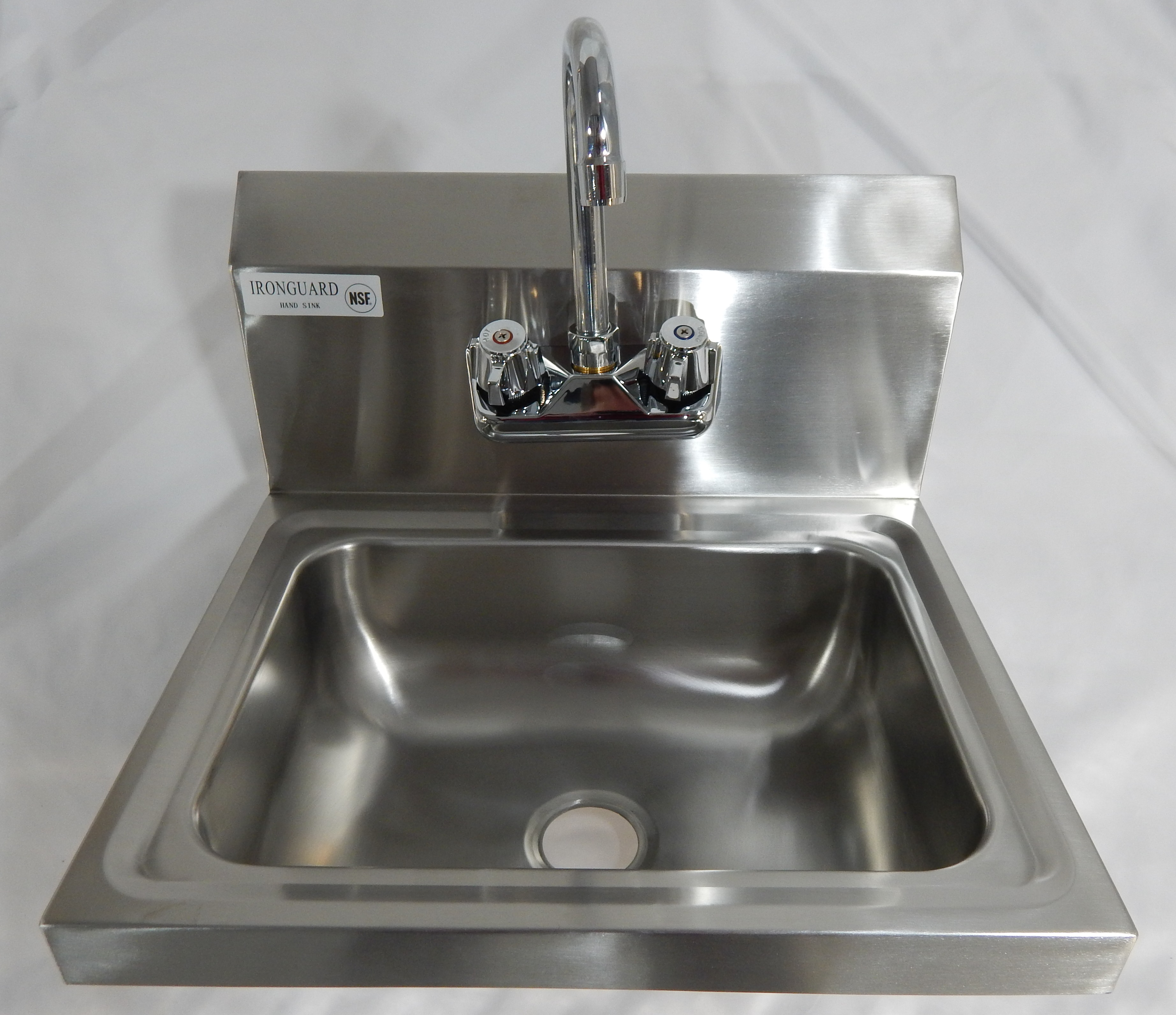 Iron Guard-Hand Sink 17.5 X 15 Wall Mount SS with Faucet | Public Kitchen Supply